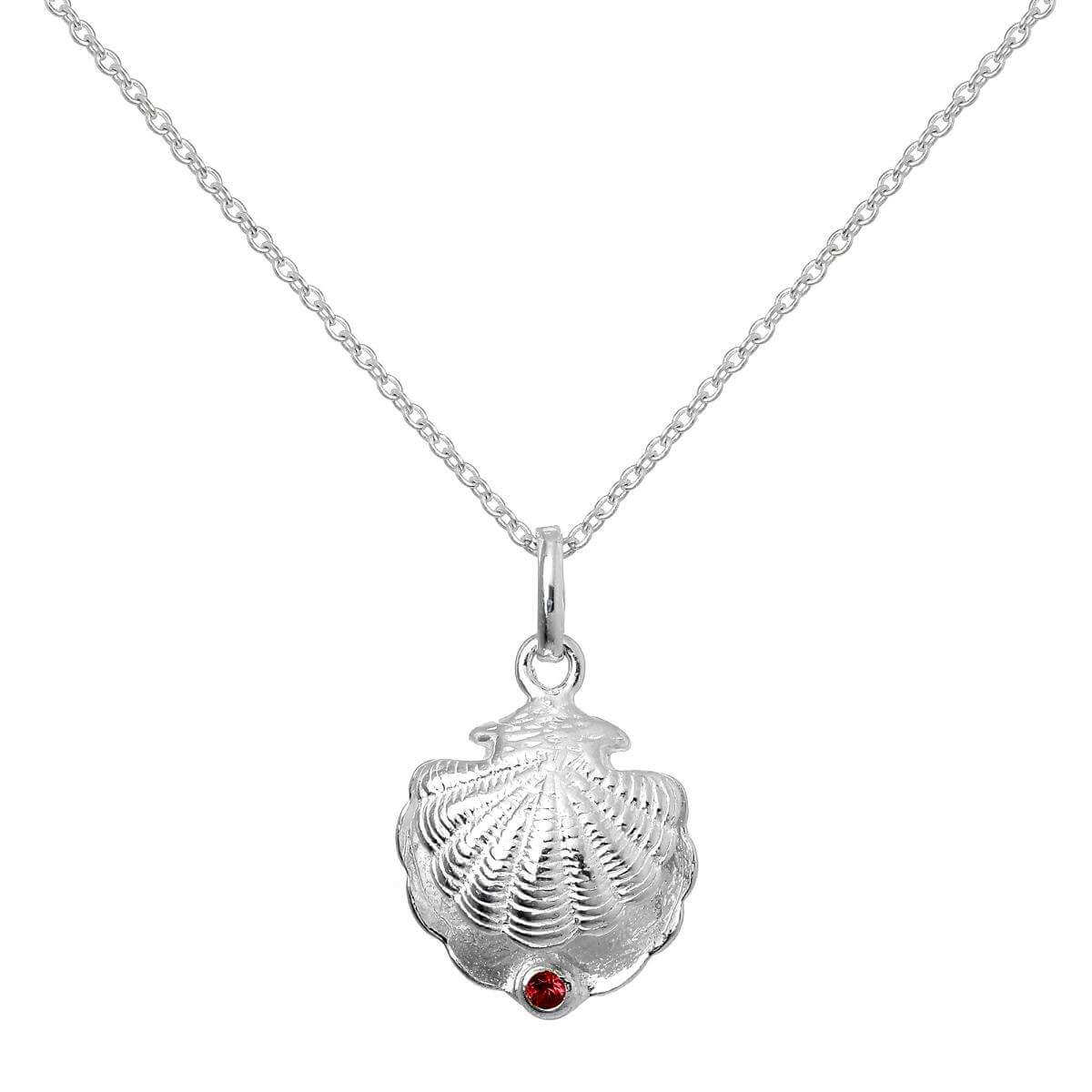 Sterling Silver Oyster Shell with CZ Crystal Siam Birthstone Necklace