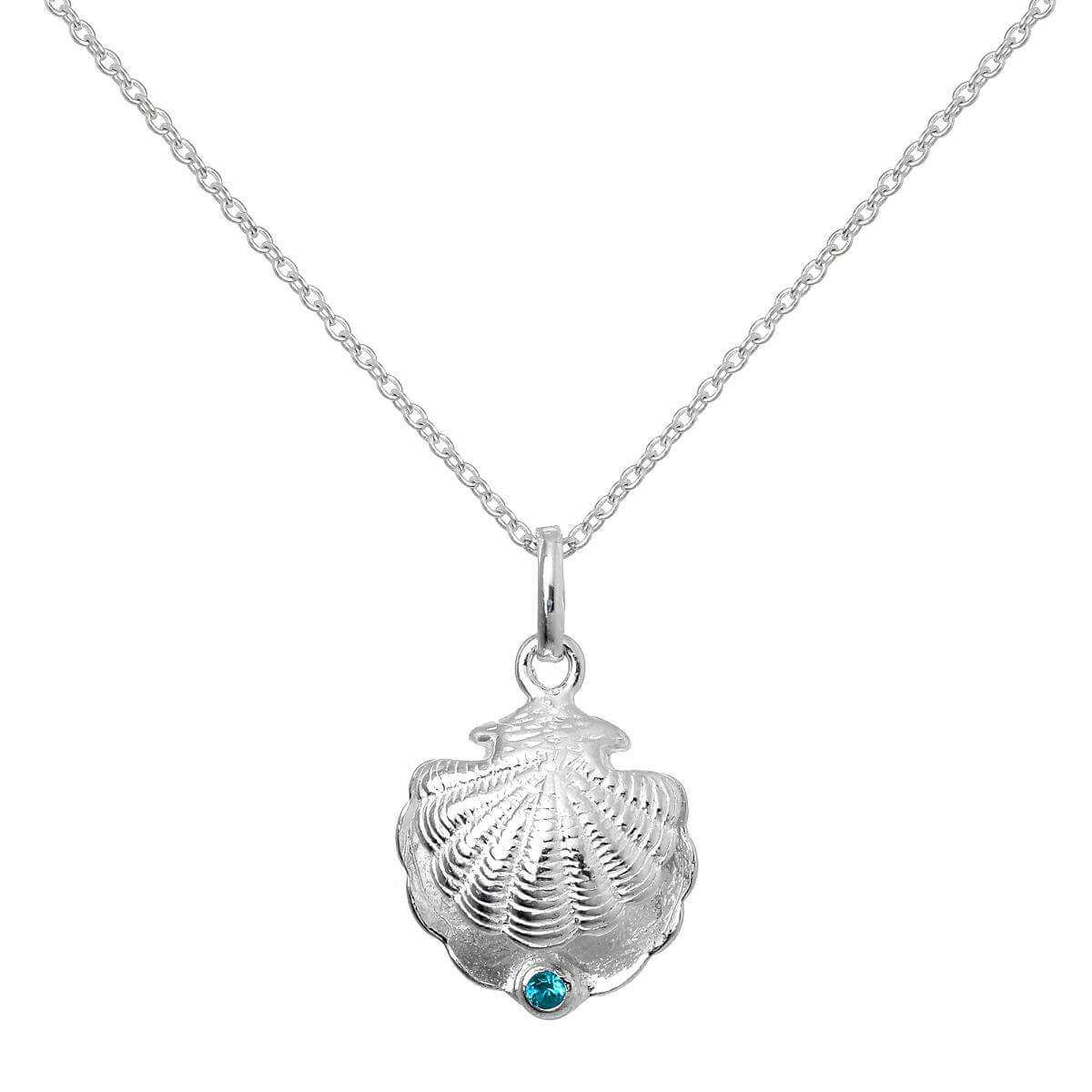 Sterling Silver Oyster Shell with CZ Crystal Blue Zircon Birthstone Necklace