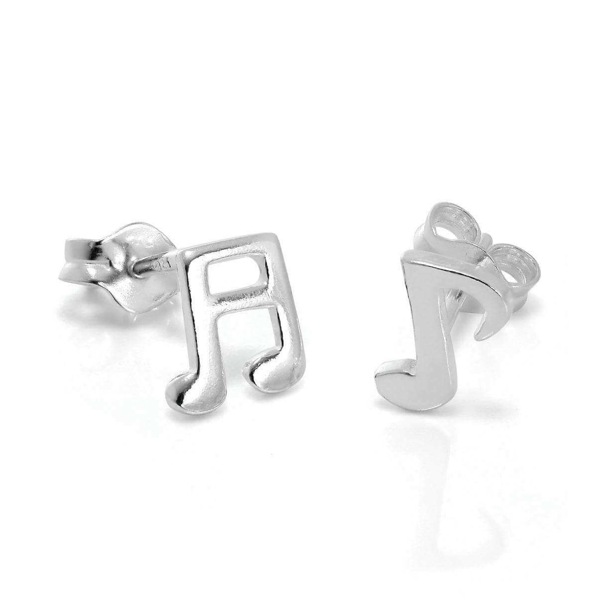 Sterling Silver Music Notes Stud Earrings