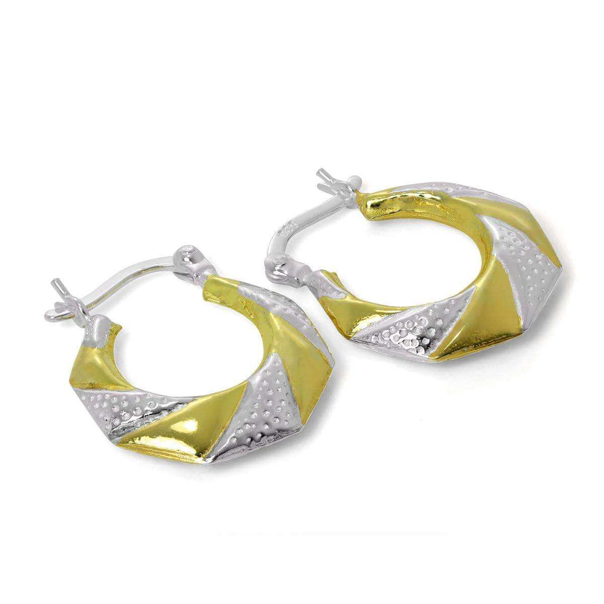 Gold Plated Sterling Silver Twist 16mm Hoop Creole Earrings
