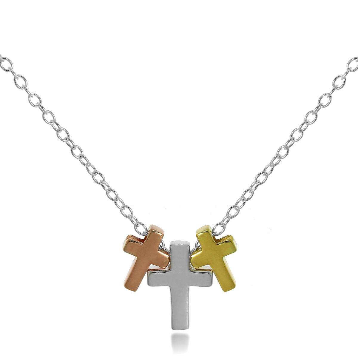Gold Plated Sterling Silver Triple Cross 18 Inch Necklace
