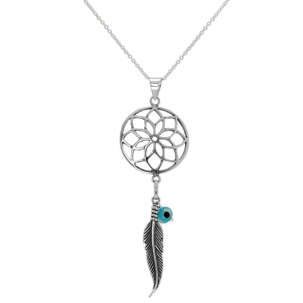 Large Sterling Silver Dreamcatcher Pendant Necklace