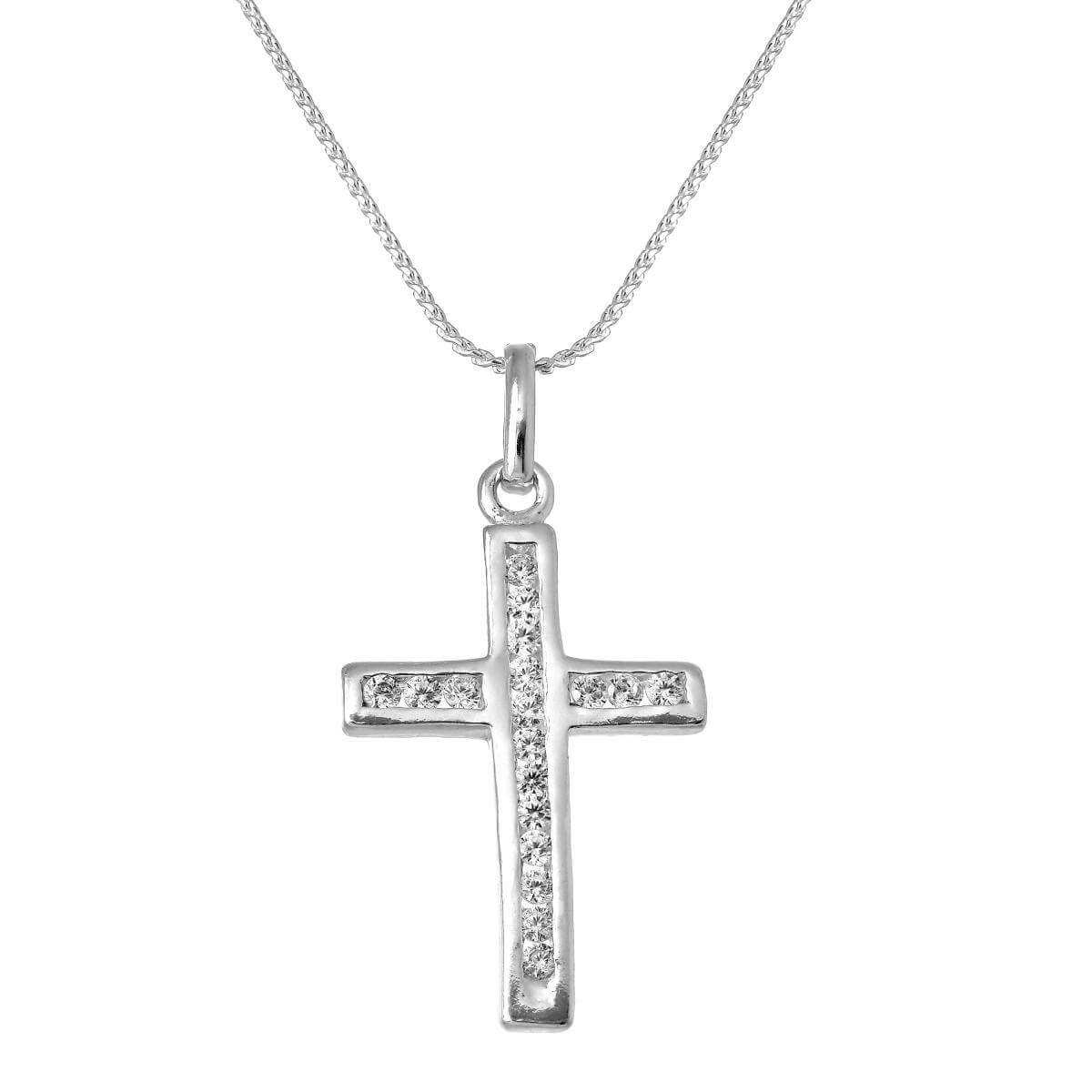 Sterling Silver & CZ Crystal Cross Pendant Necklace 16 - 22 Inches