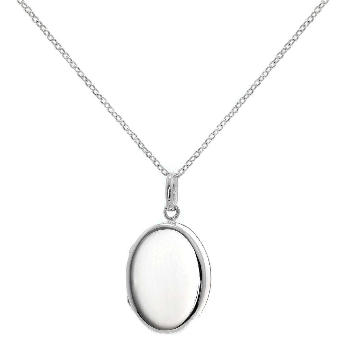Sterling Silver Oval Locket Necklace on Chain