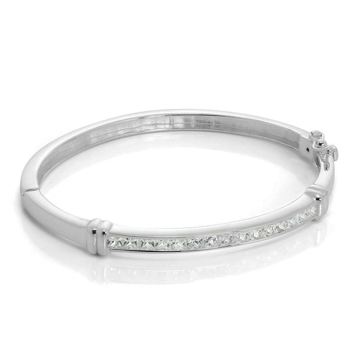 Sterling Silver & CZ Crystal Hinged Maiden Bangle