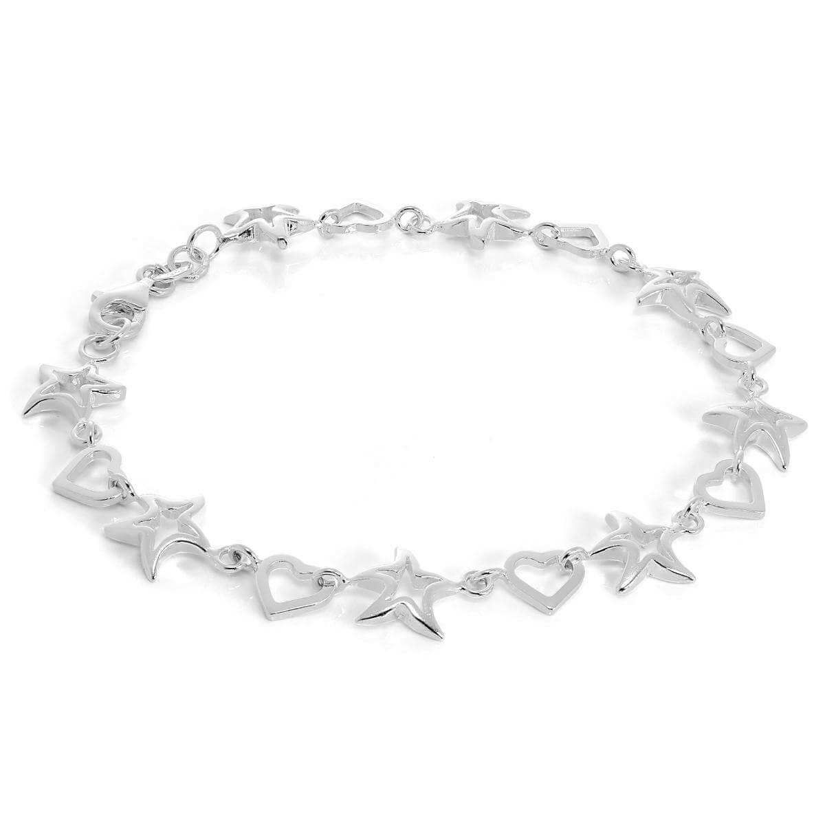 Sterling Silver Open Heart & Star Bracelet