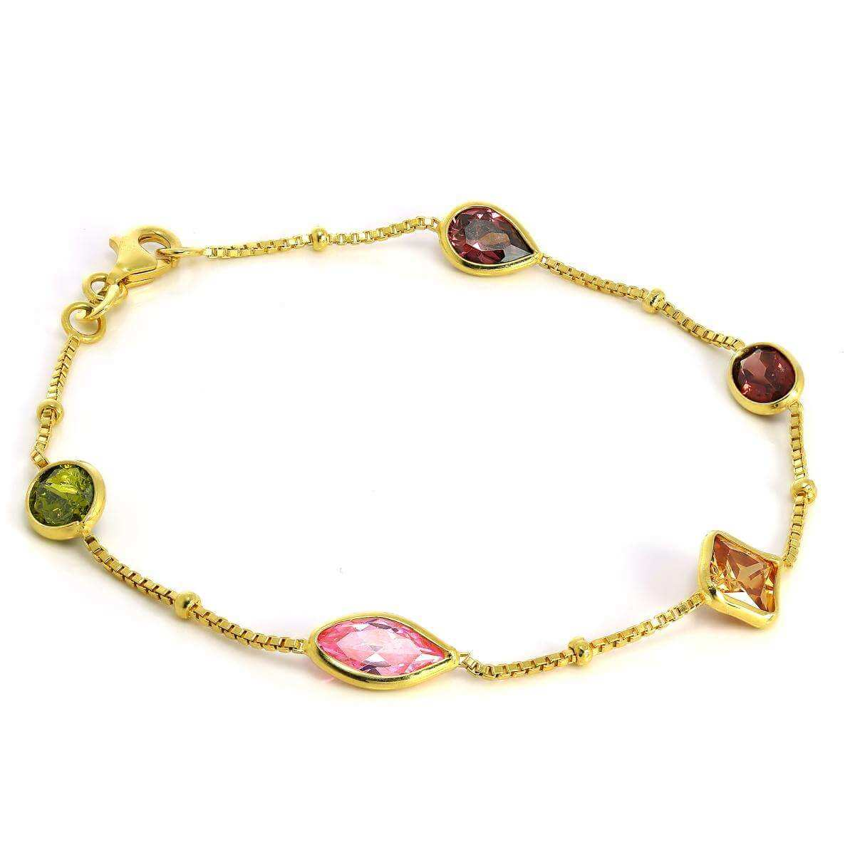Gold Plated Sterling Silver Box Chain Bracelet with CZ Crystals