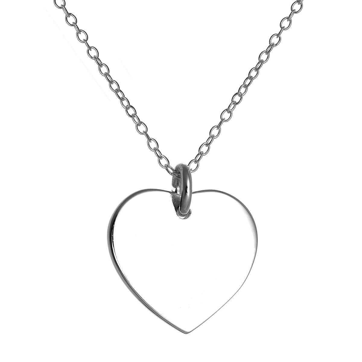 Sterling Silver Engravable Heart Pendant on 18 Inch Chain