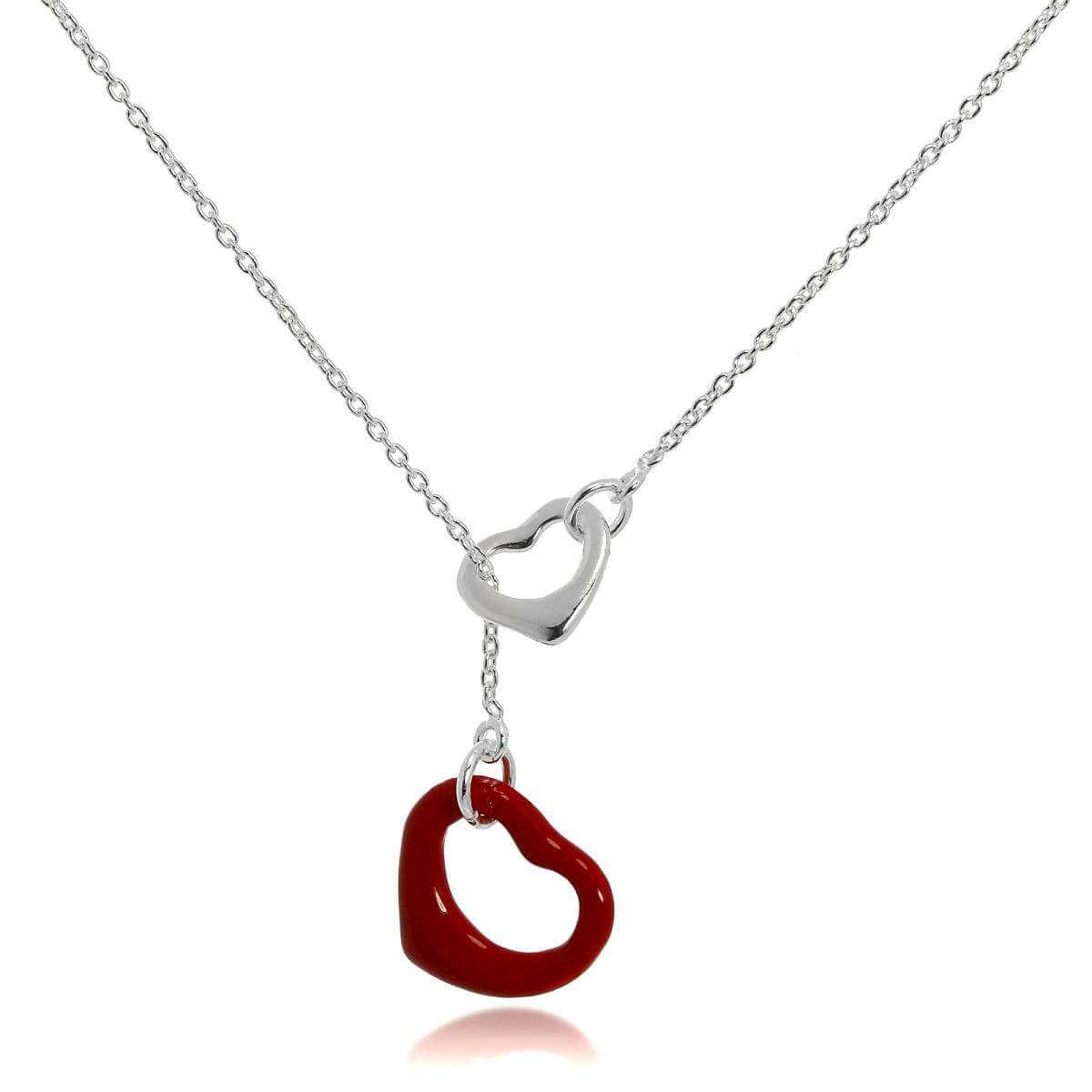 Sterling Silver Red Open Heart Lariat Chain Necklace