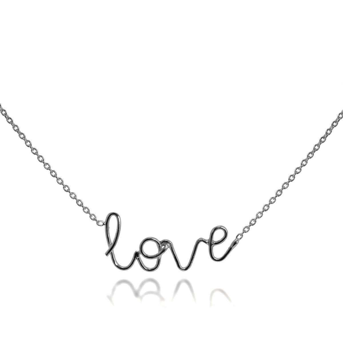 Sterling Silver Love Necklace on 16 + 2 Inch Chain