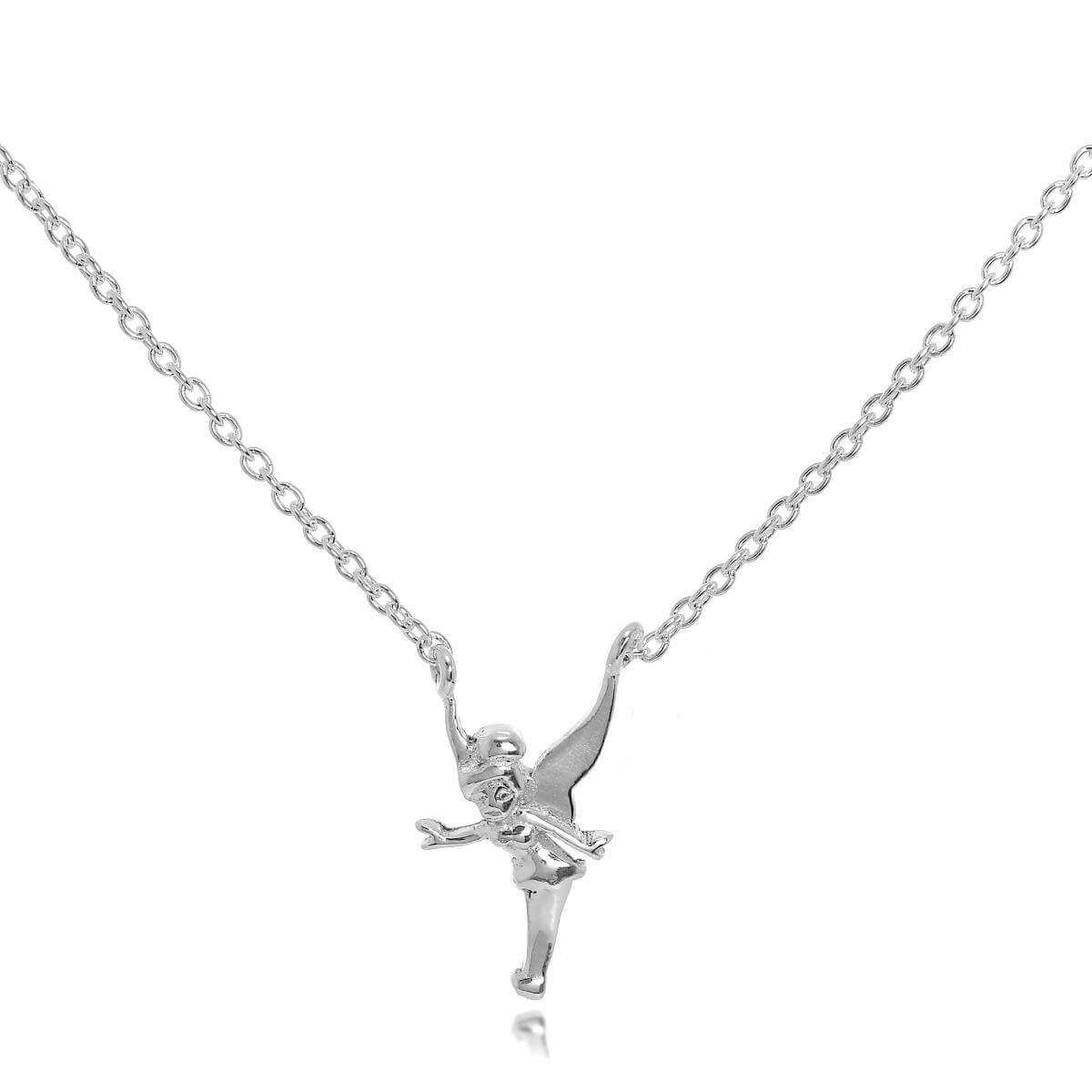 Sterling Silver Tinkerbell Fairy Necklace on 18 Inch Chain