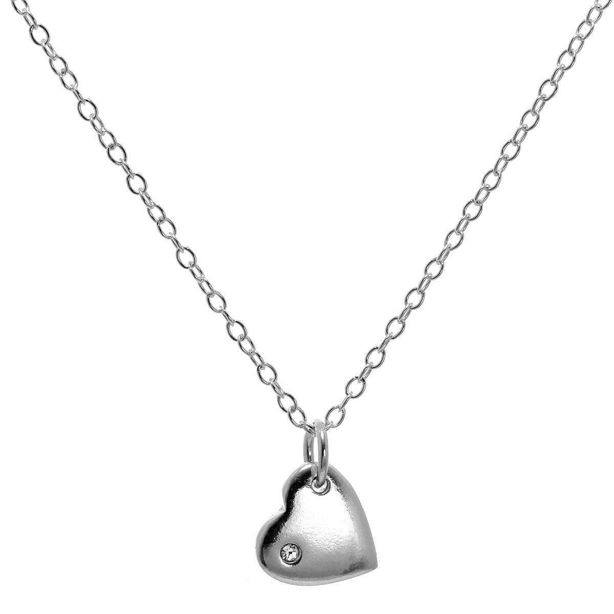 Sterling Silver 18 Inch Belcher Chain Heart Necklace with CZ Crystal