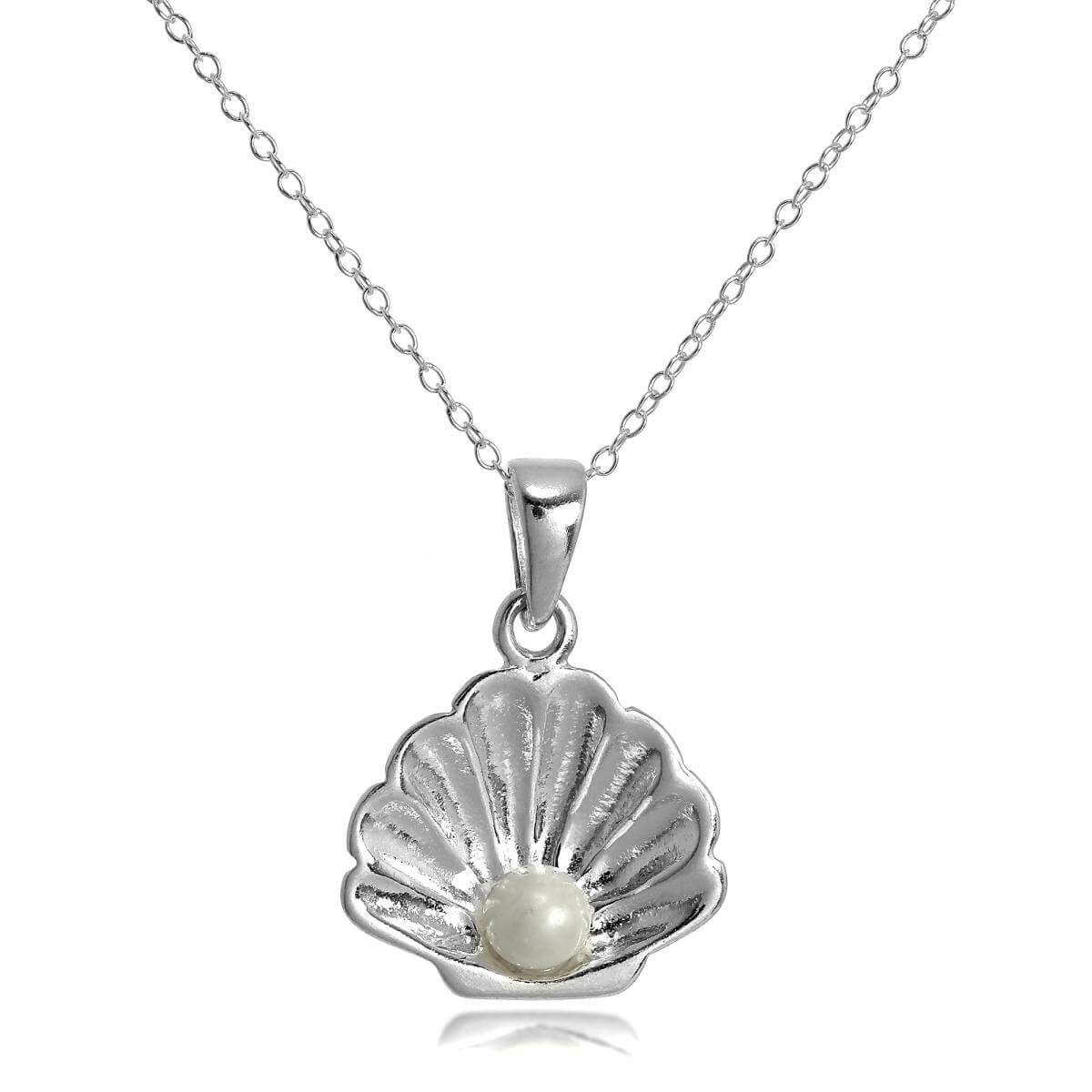 Sterling Silver Sea Shell Necklace with Pearl on 18 Inch Chain