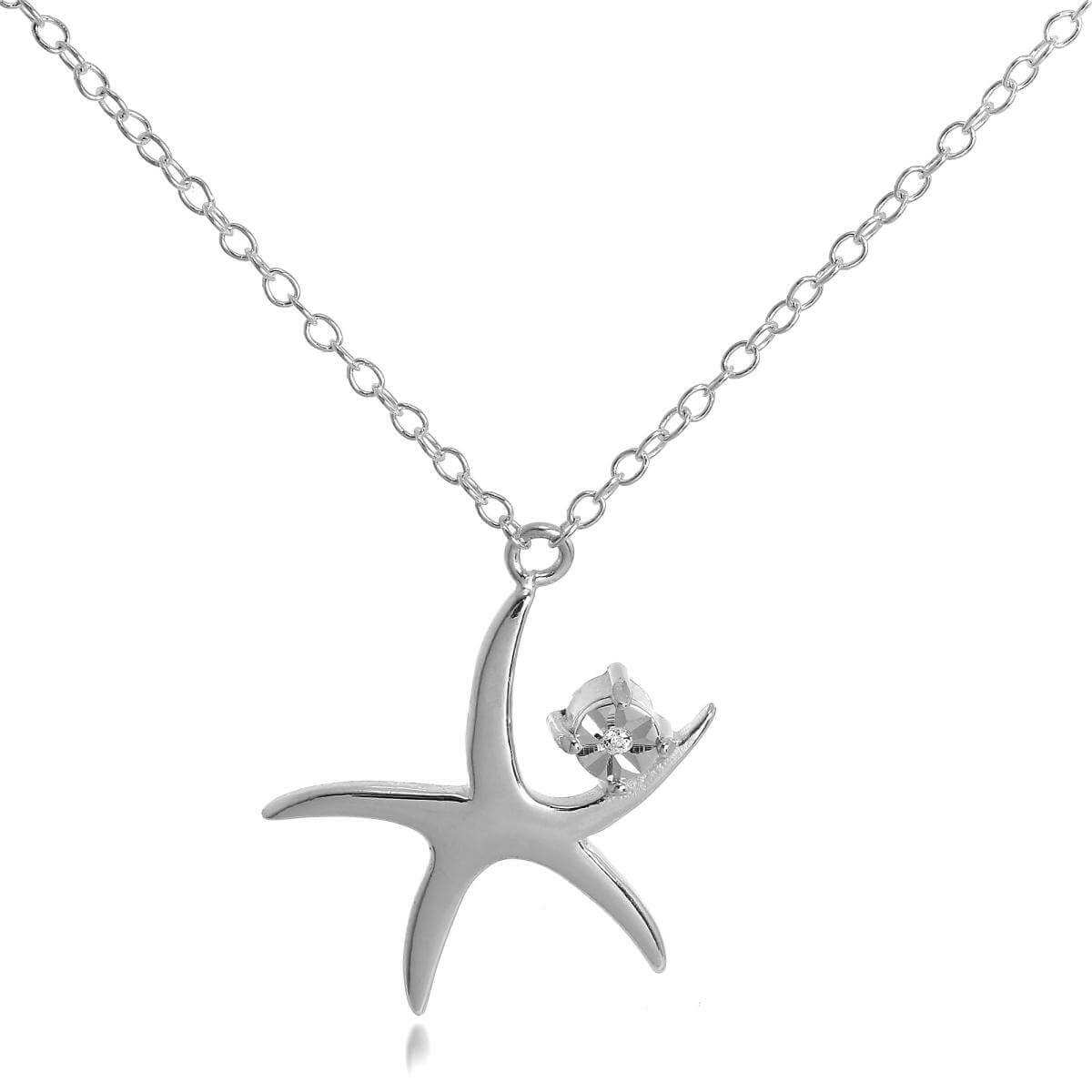 Sterling Silver Starfish with CZ Crystal Pendant Necklace on 16 Inch Chain