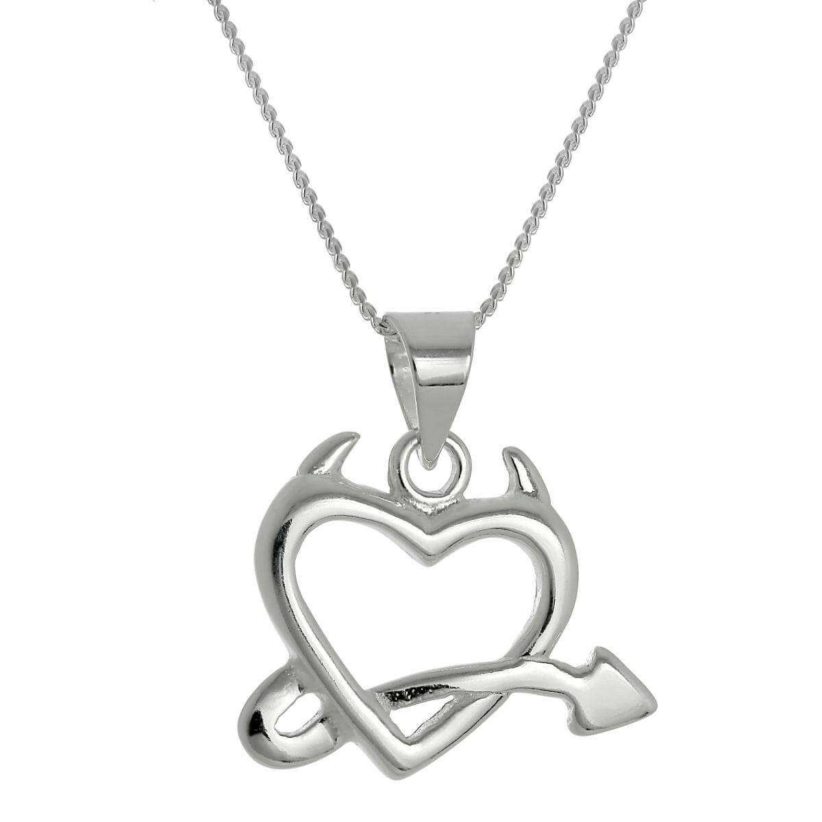 Large Sterling Silver Devil's Heart Pendant Necklace 16 - 22 Inches
