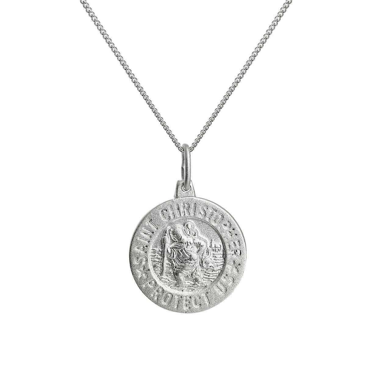 Matt Sterling Silver Saint Christopher Medal Pendant Necklace 16 - 22 Inches