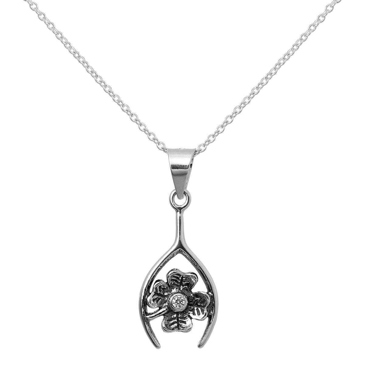 Sterling Silver Lucky Clover & Wishbone Pendant Necklace