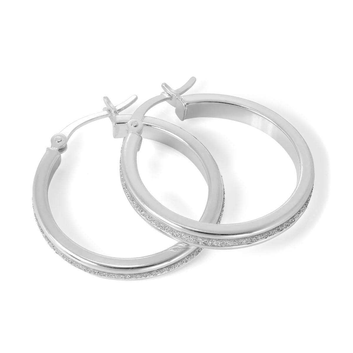 Frosted Sterling Silver 25mm Hoop Earrings