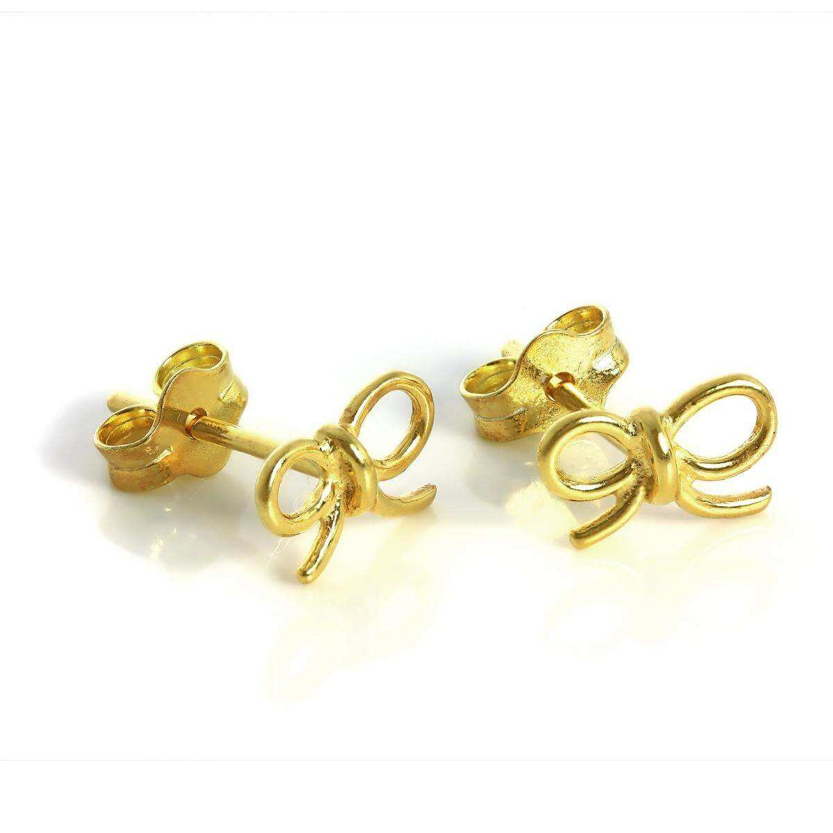 Gold Dipped Sterling Silver Bow Stud Earrings