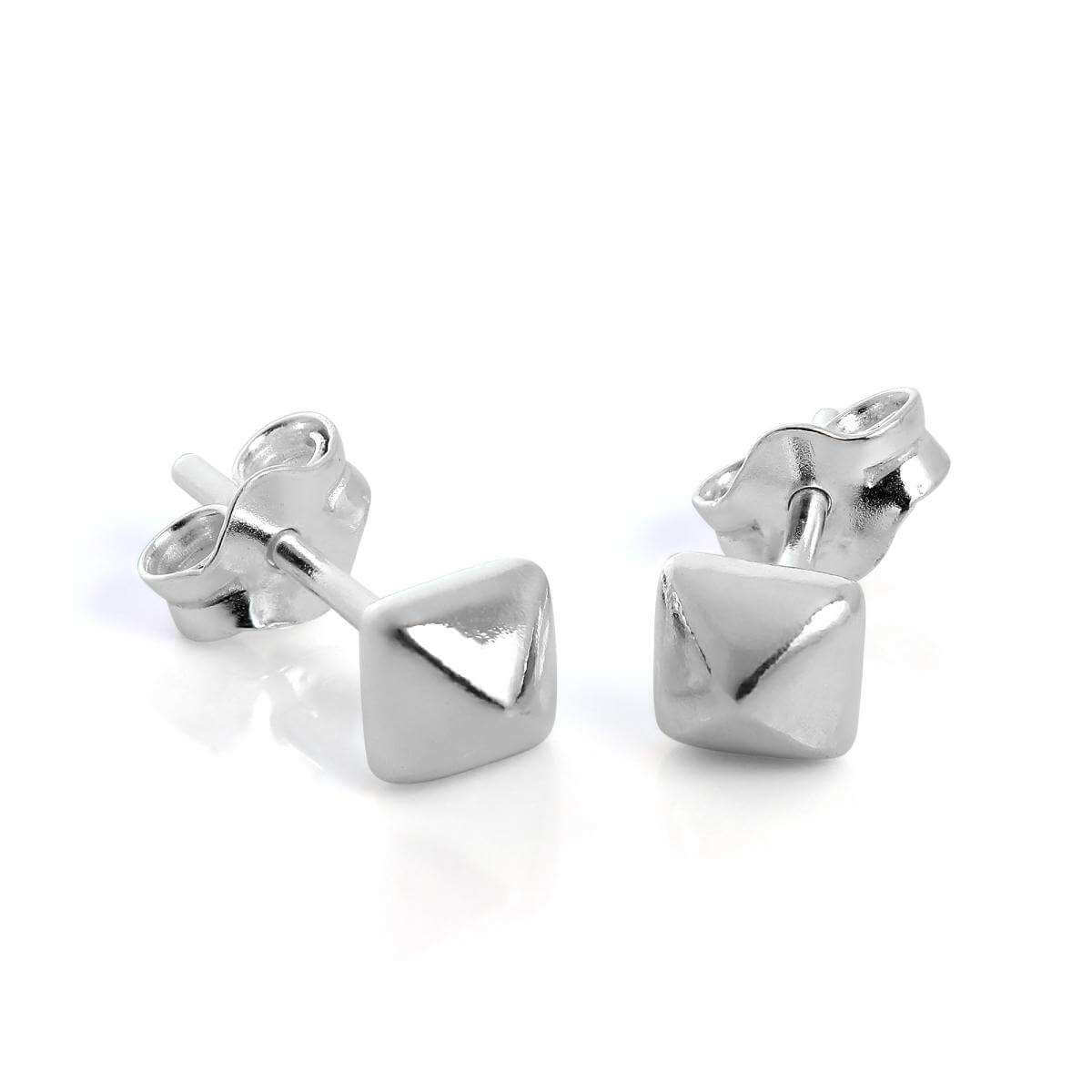 Sterling Silver Square Pyramid Stud Earrings