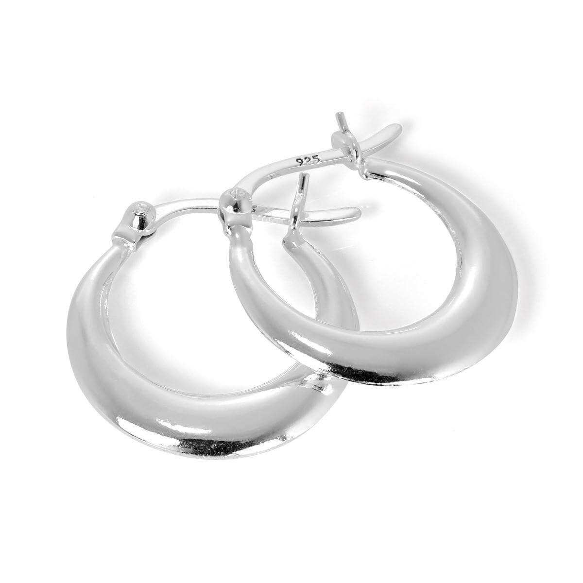 Plain Sterling Silver Small Creole 17mm Hoop Earrings