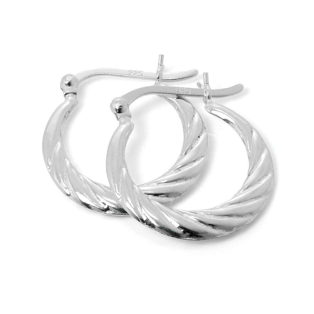 b3743faef Sterling Silver Twisted Creole 19mm Hoop Earrings | JewelleryBox.co.uk