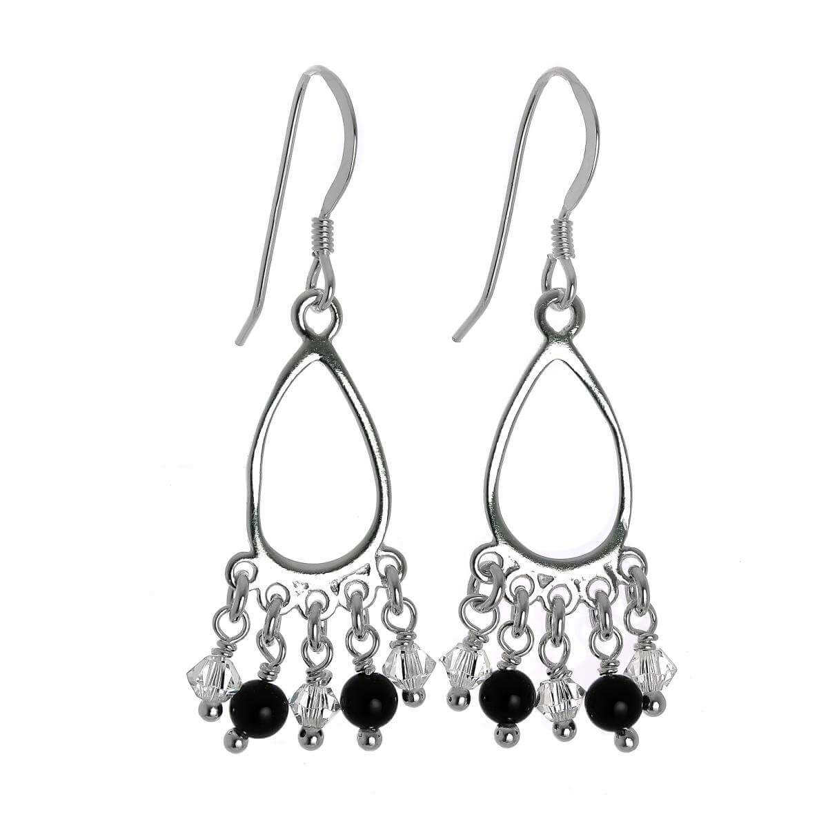 Sterling Silver & CZ Crystal Chandelier Dangly Earrings