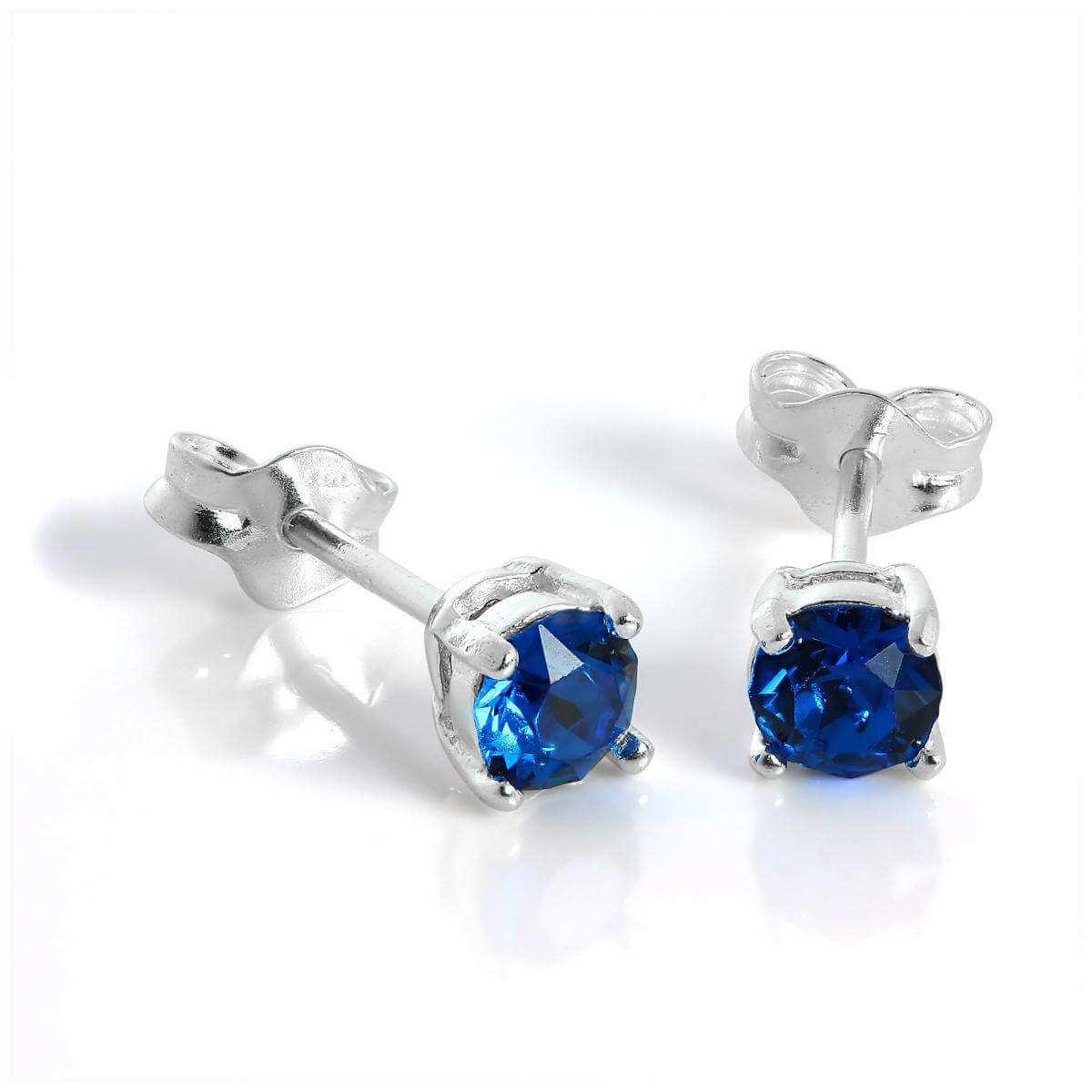 Sterling Silver & 4mm Square Blue Capri Quartz Stud Earrings