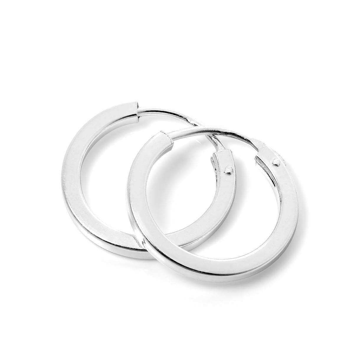 Plain Sterling Silver 14mm Square Sleeper Hoop Earrings