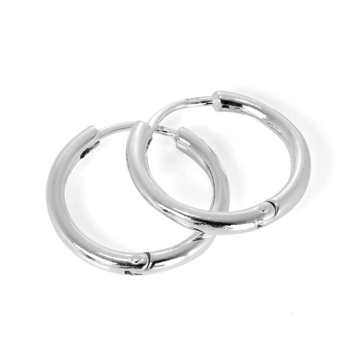Sterling Silver Heavy Hinged Sleeper 19mm Hoop Earrings