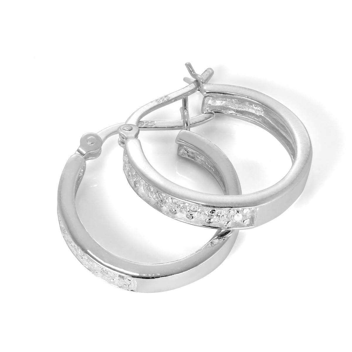 Sterling Silver & CZ Crystal 18mm Hoop Earrings