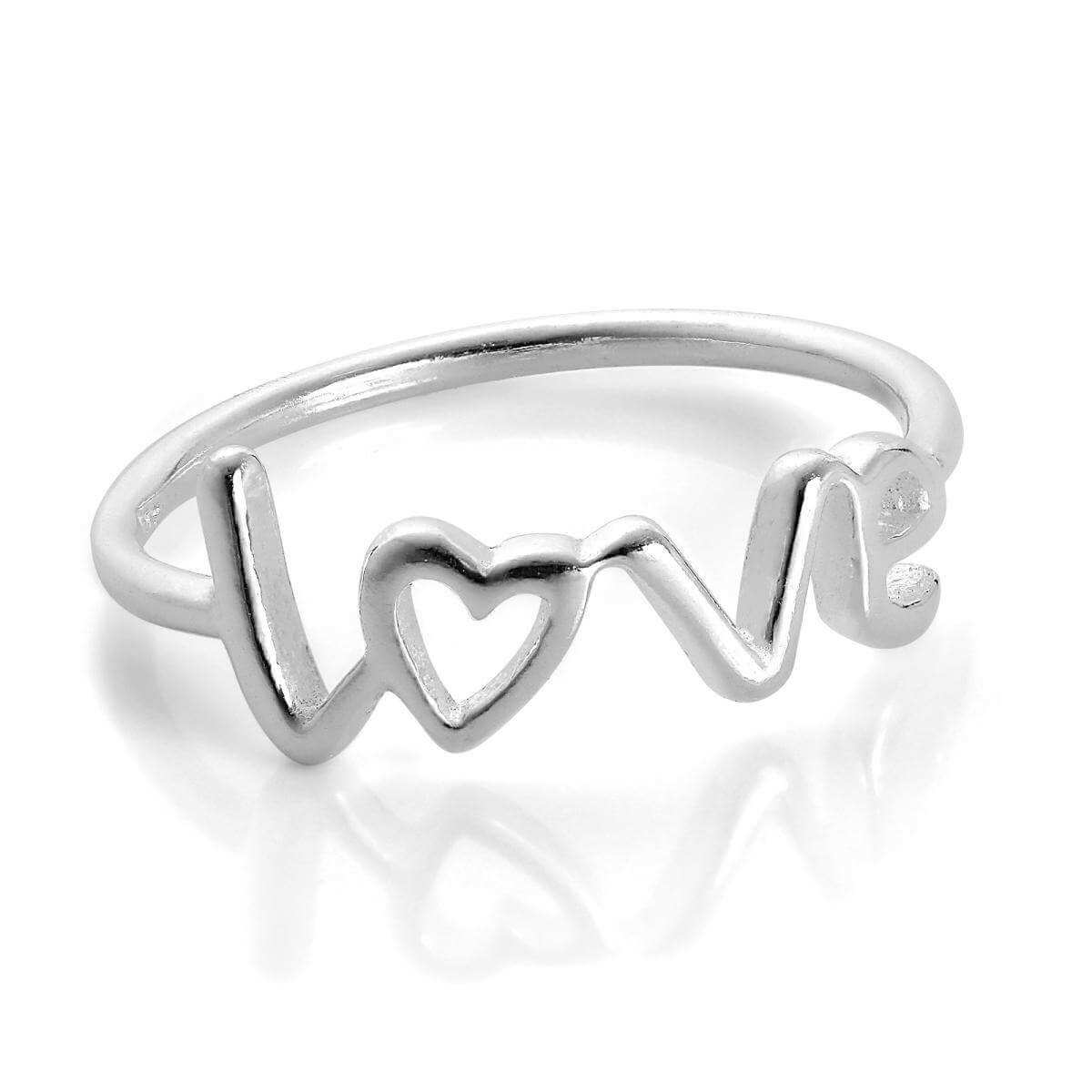 Sterling Silver Love Heart Ring Size I - W