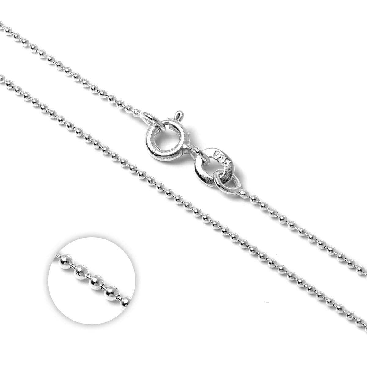Sterling Silver 1mm Bead Chain 14 - 22 Inches