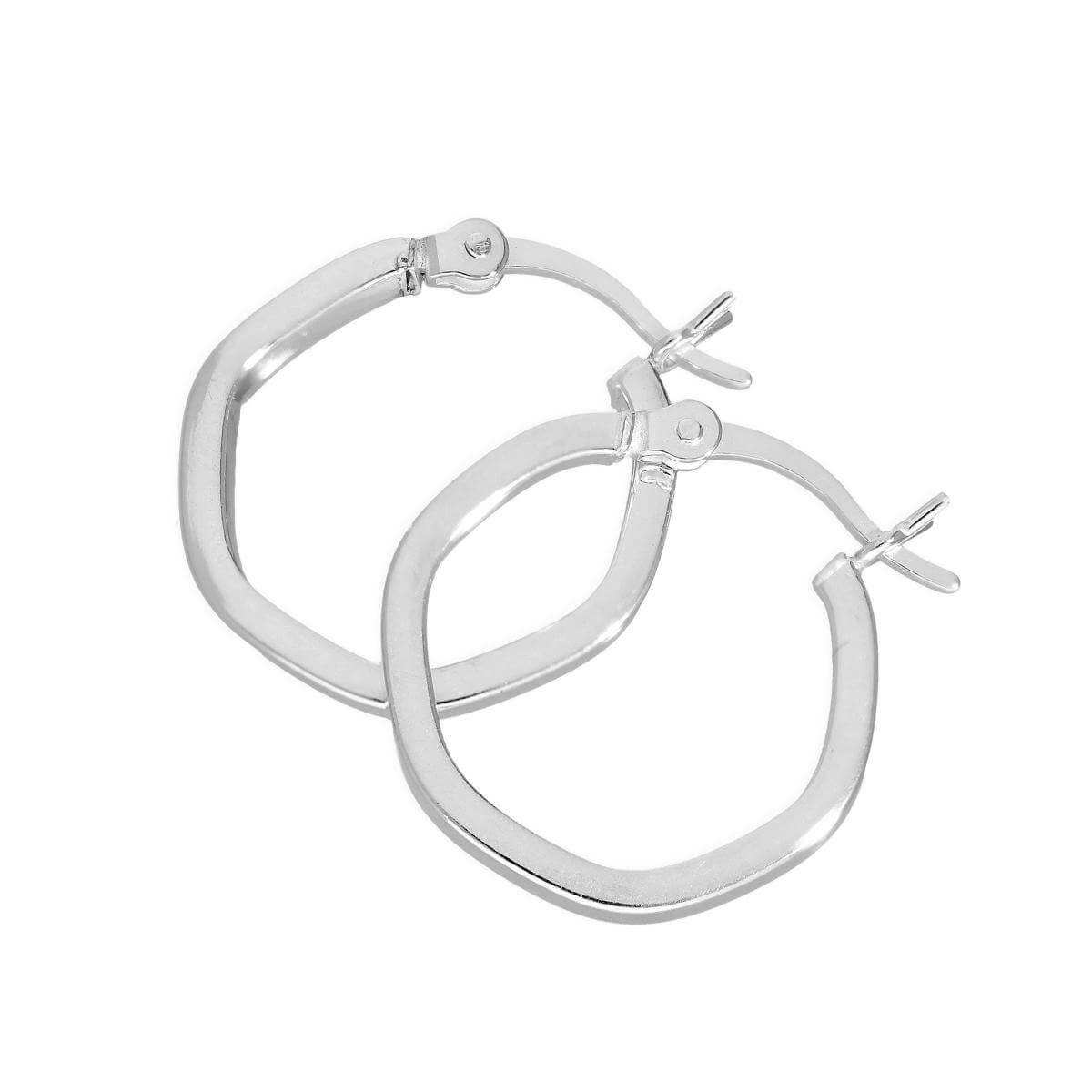 Sterling Silver Hexagonal Hoop Earrings