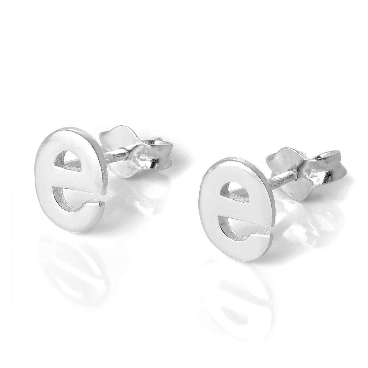 Sterling Silver Alphabet Letter E Stud Earrings