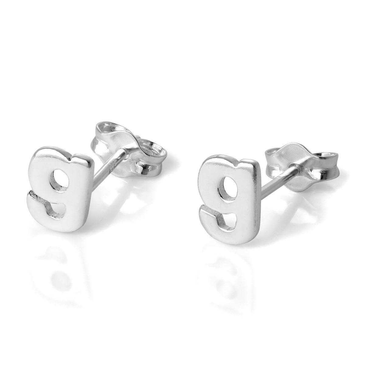 Sterling Silver Alphabet Letter G Stud Earrings