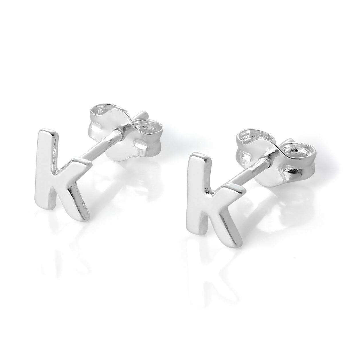 Sterling Silver Alphabet Letter K Stud Earrings