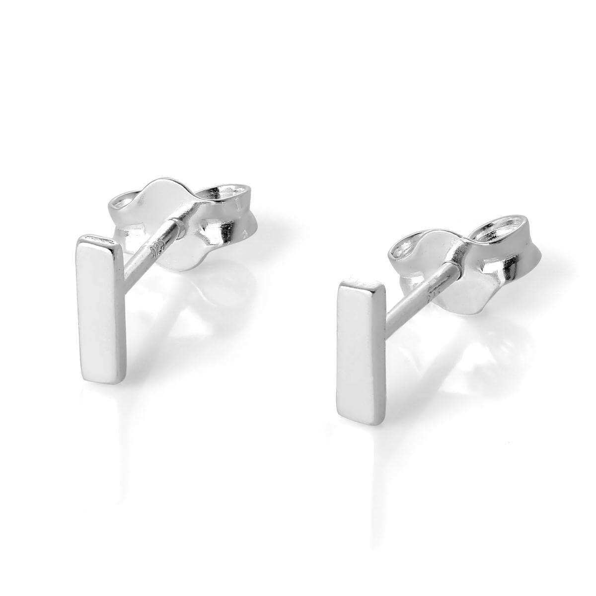 Sterling Silver Alphabet Letter L Stud Earrings
