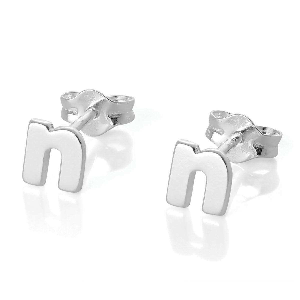 Sterling Silver Alphabet Letter N Stud Earrings