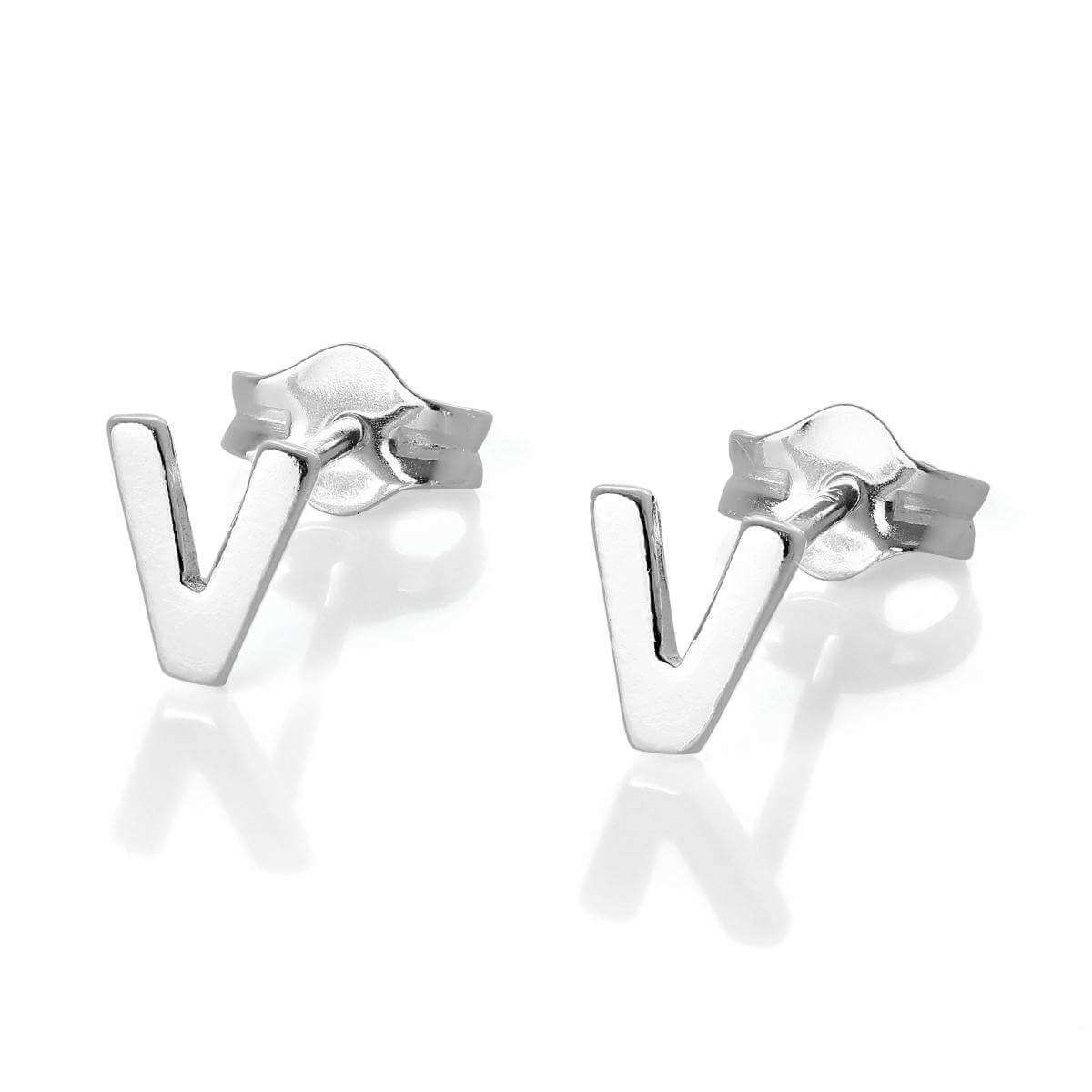 Sterling Silver Alphabet Letter V Stud Earrings