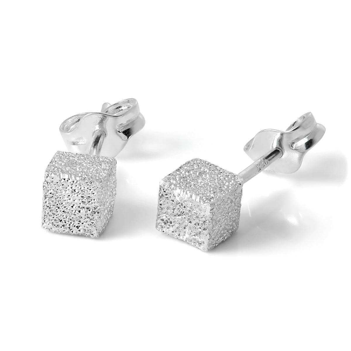Frosted Sterling Silver 4mm Cube Stud Earrings