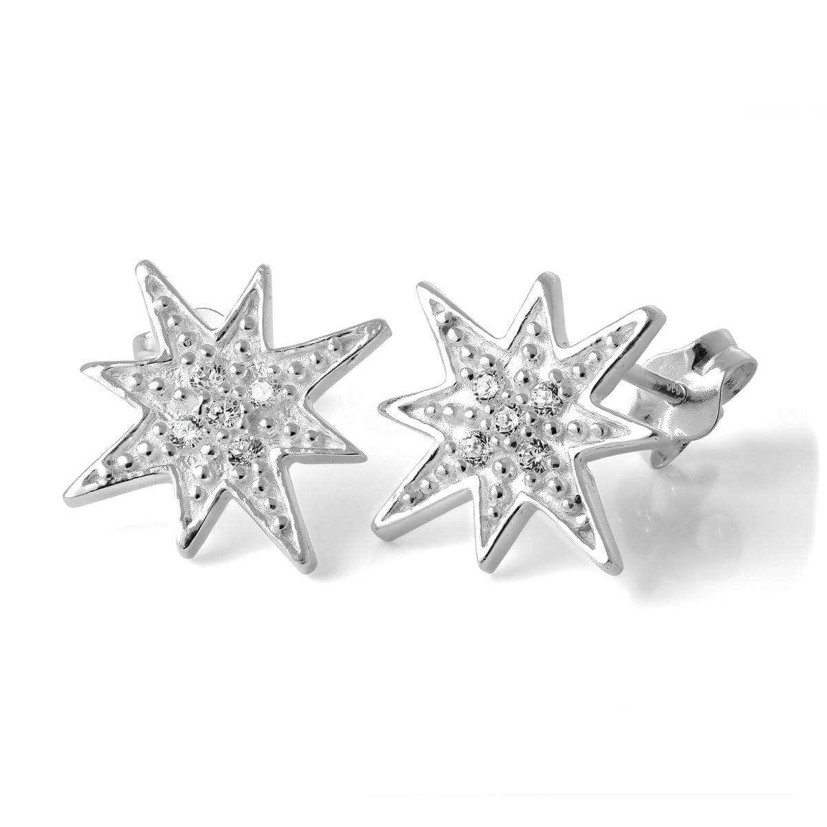 Sterling Silver & CZ Crystal Star Stud Earrings