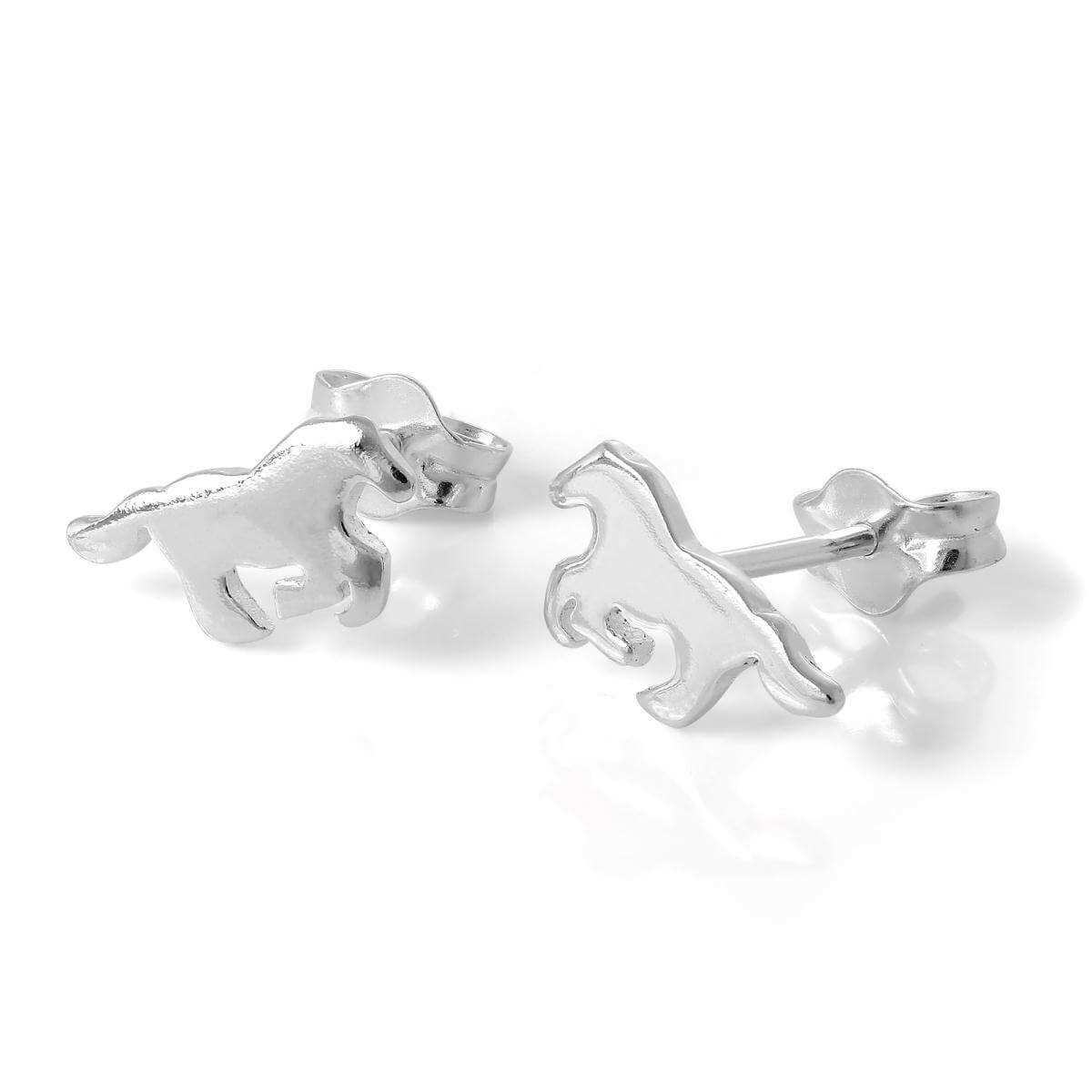 Small Sterling Silver Galloping Horse Stud Earrings