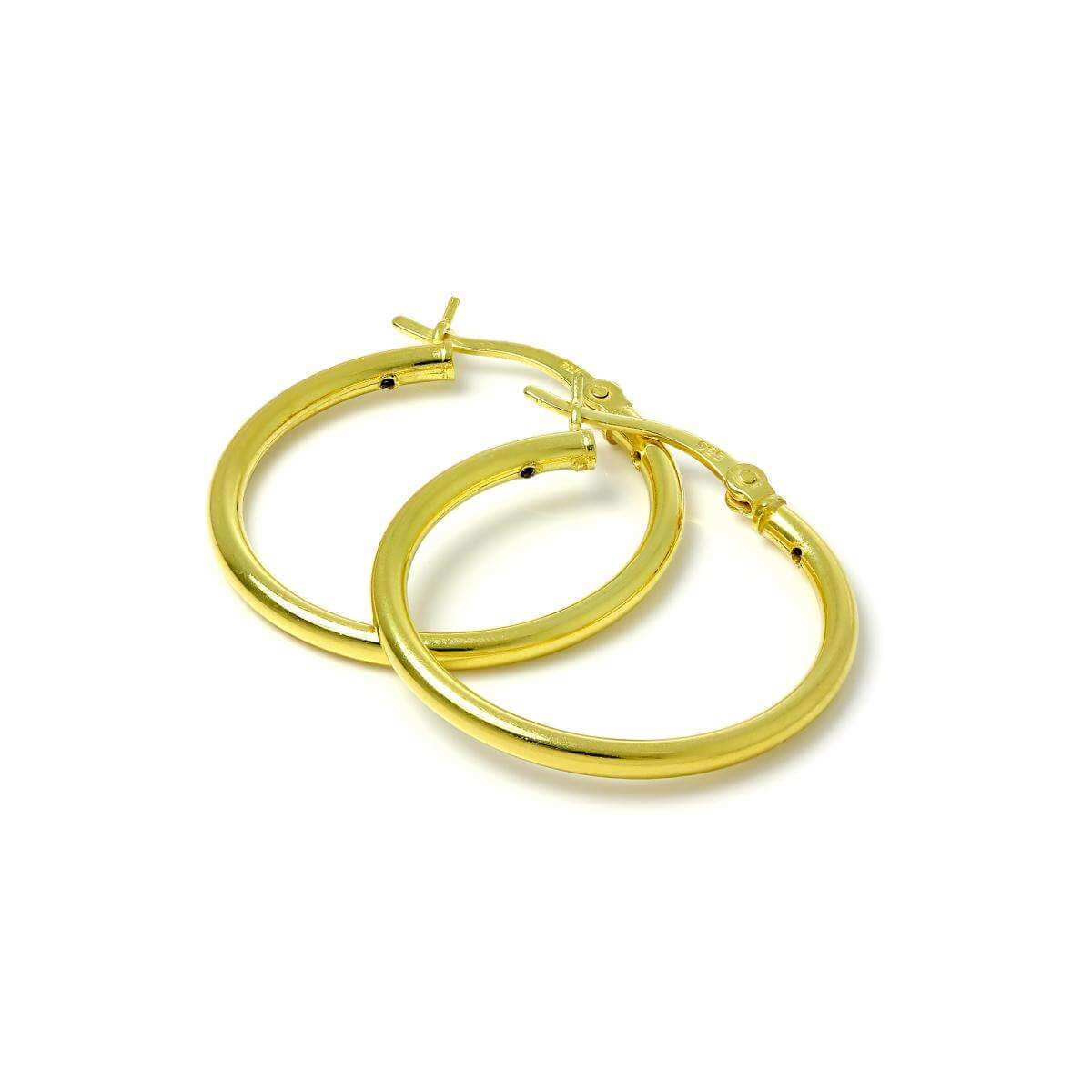 Gold Plated Sterling Silver 2mm Tube Sleeper 25mm Hoop Earrings