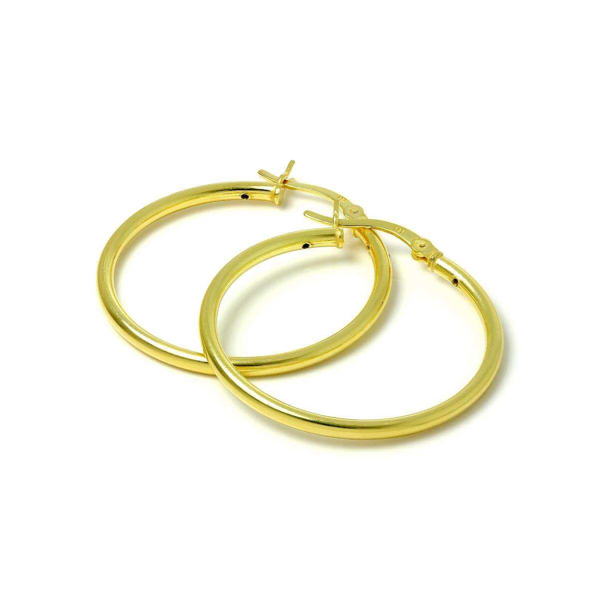 Gold Plated Sterling Silver 2mm Tube Sleeper 30mm Hoop Earrings