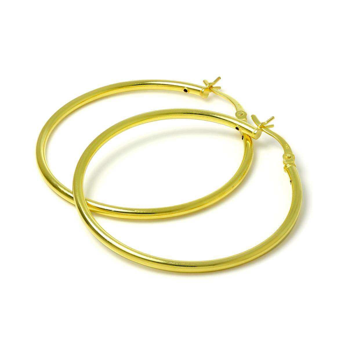 Gold Plated Sterling Silver 2mm Tube Sleeper 40mm Hoop Earrings