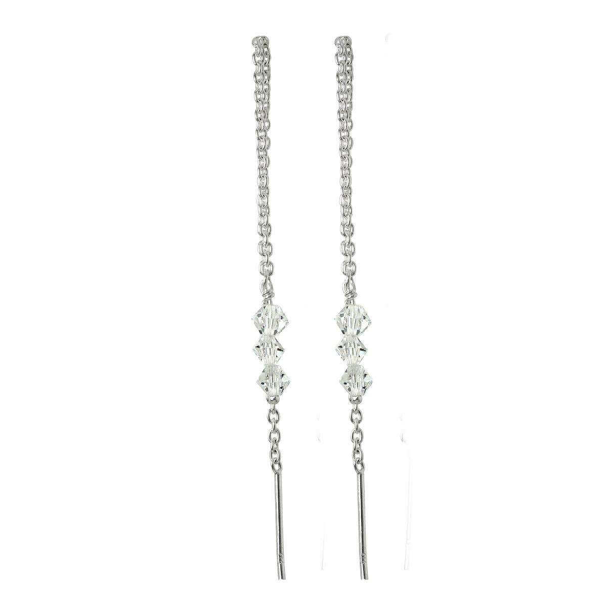 Sterling Silver Triple CZ Crystal Pull Through Earrings