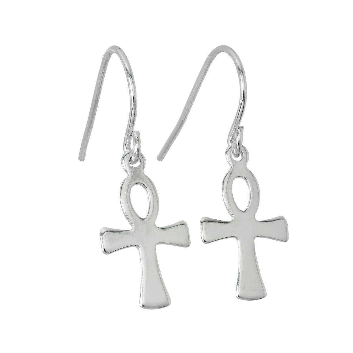 Sterling Silver Ankh Dangle Earrings