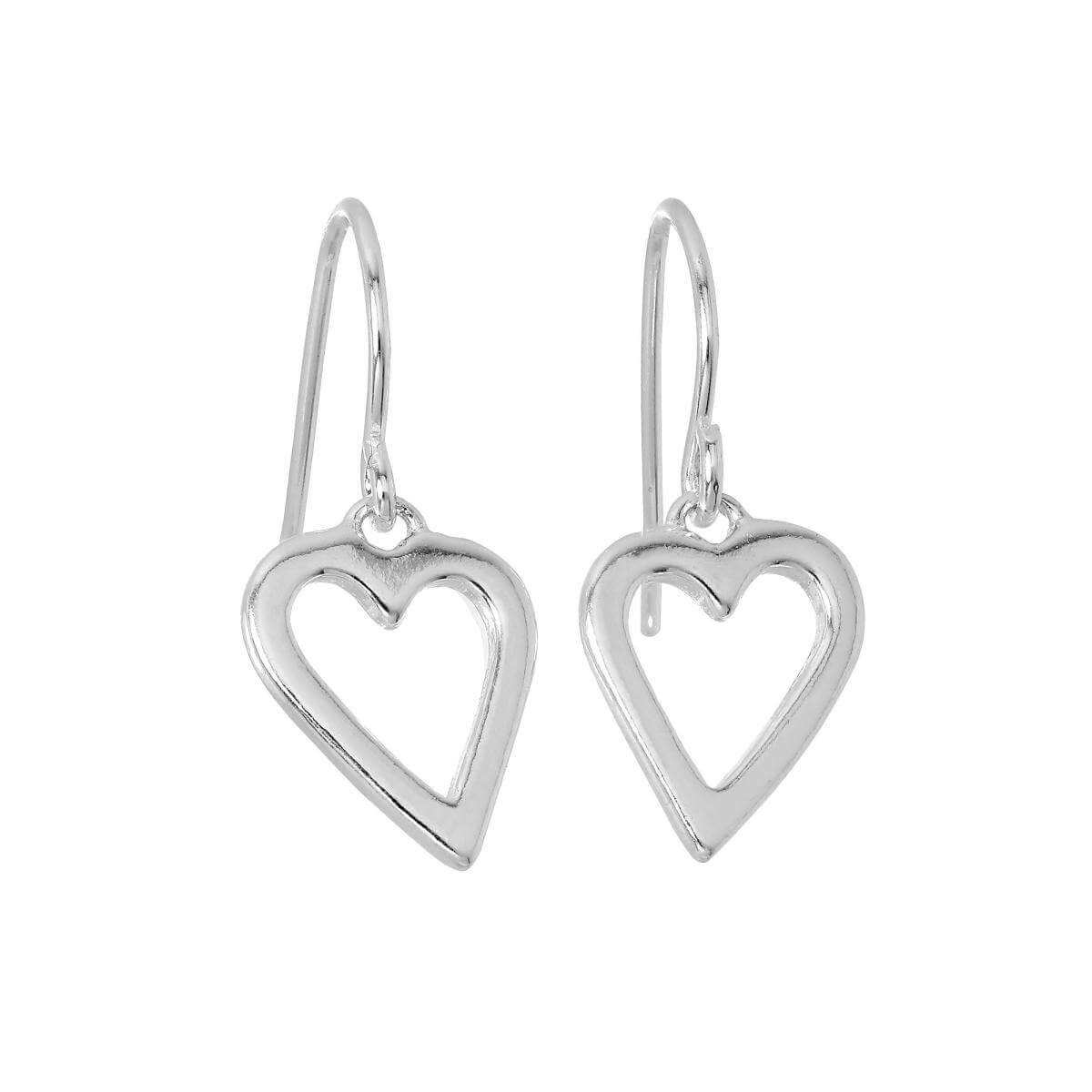 Sterling Silver Cut Out Heart Dangle Earrings