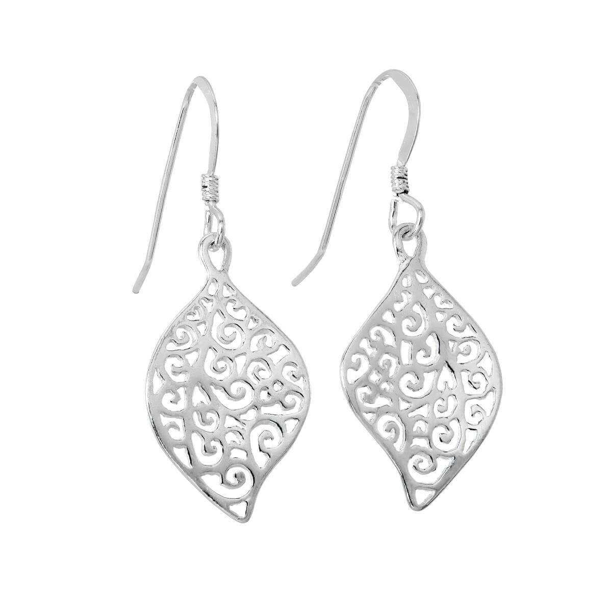 Sterling Silver Filigree Leaf Dangle Earrings